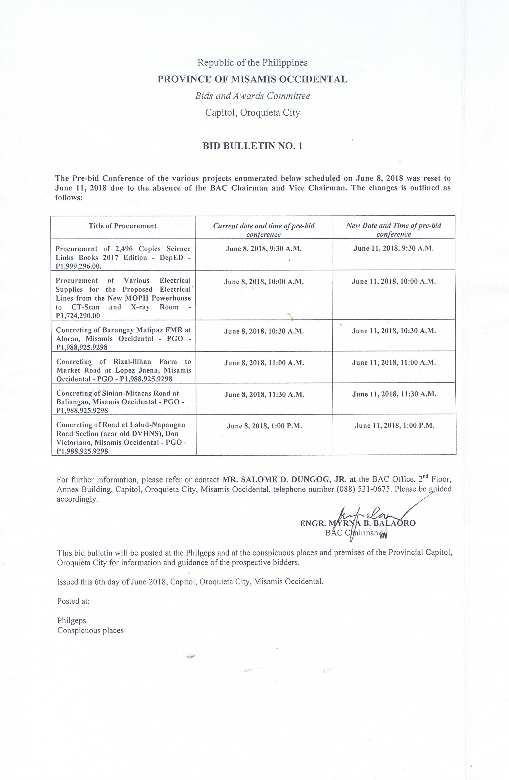 Bid Bulletin No. 1